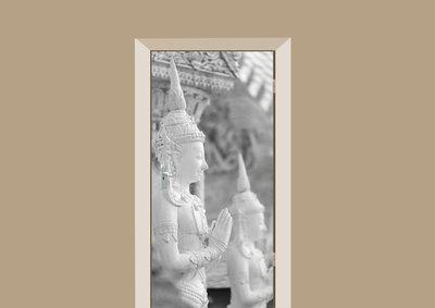 Deursticker boeddha gebouw wit