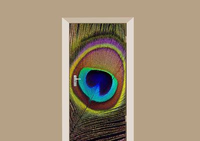 Deursticker pauwenveer multicolor