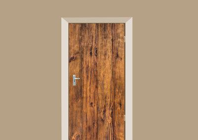 deursticker brede antieke planken