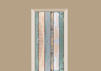 deursticker hout gekleurde planken