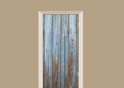 deursticker houten muur blauw
