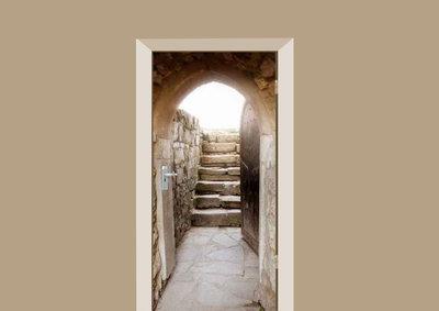 deursticker natuur stenen trap