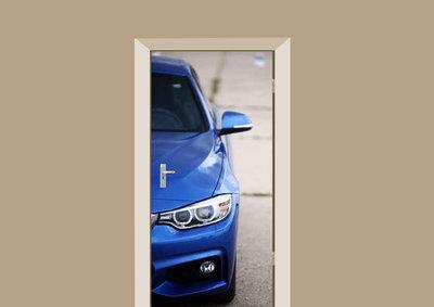 Deursticker auto blauw