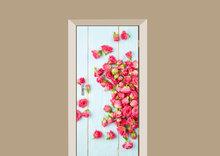 deursticker bloemen rozen op hout