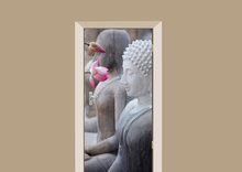 Deursticker boeddha met bloem