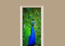 Deursticker pauw blauw