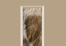 deursticker dierenprint hondenvacht bruin