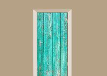 deursticker hout turquoise