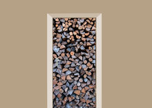 deursticker houtblokken donker