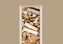 deursticker houtblokken diagonaal
