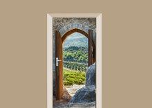 deursticker natuur uitzicht over de bergen