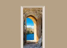 deursticker natuur uitzicht op zee