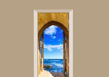 deursticker natuur poort naar de zee