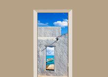 deursticker natuur spaans strandhuis